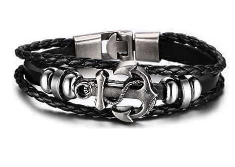 styles de mode Quantité limitée mode de vente chaude HONGCI Unisexe Alliage Anchor Cuir Bracelet Viking Bracelet ...