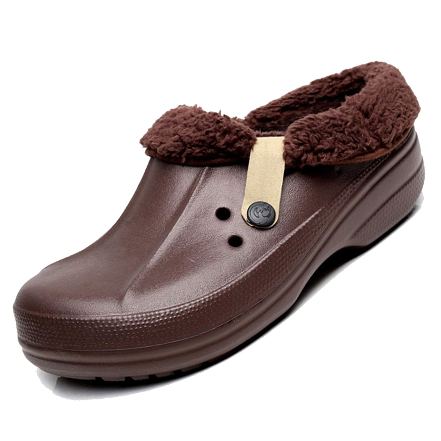 BARKOR Mens Womens Lined Walking Garden Clogs Slippers Warm Non-Slip Shoes Brown-43