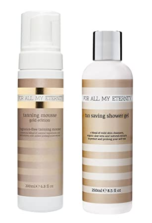 For All My Eternity Tanning Mousse Gold Edition Tan Saving Shower Gel MULTIBUY Organic Natural Ingredients SLS-Free No Artificial Fragrances. Totally Natural Looking Sunless Tanner COMBO