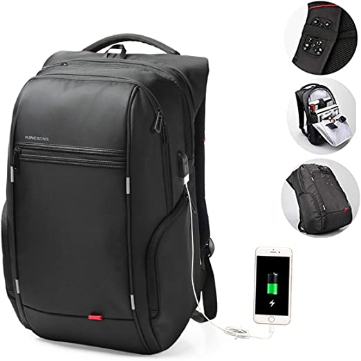 Black Laptop Backpack for Women Fashion Travel Bags Business Computer Purse Work Bag with USB Port