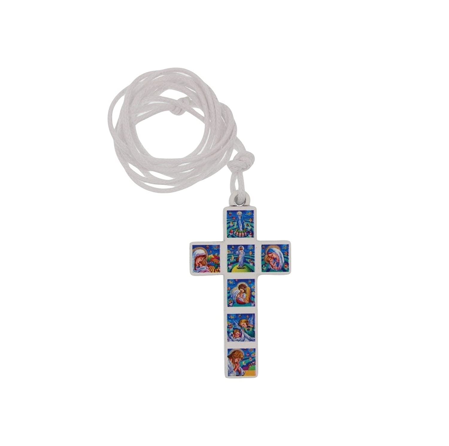 1.75-inch Wood Cross Pendant Necklace on Cord