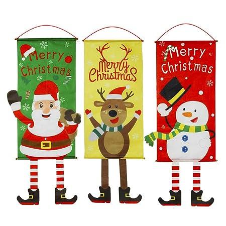 Toyvian 3 Piezas Banderas de Feliz Navidad Cartel Colgante ...