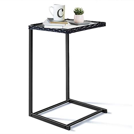 Amazon.com: custpromo ratán bandeja mesa de centro cuadrada ...