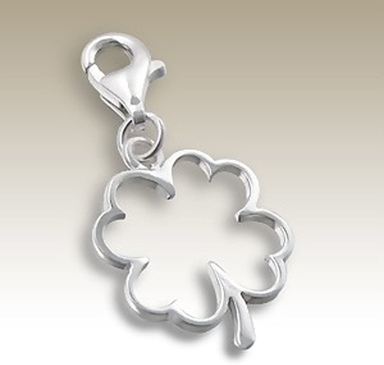 E7043 for Charms Bracelet Necklace Four Leaf Clover Charm with Lobster Clasp Sterling Silver 925