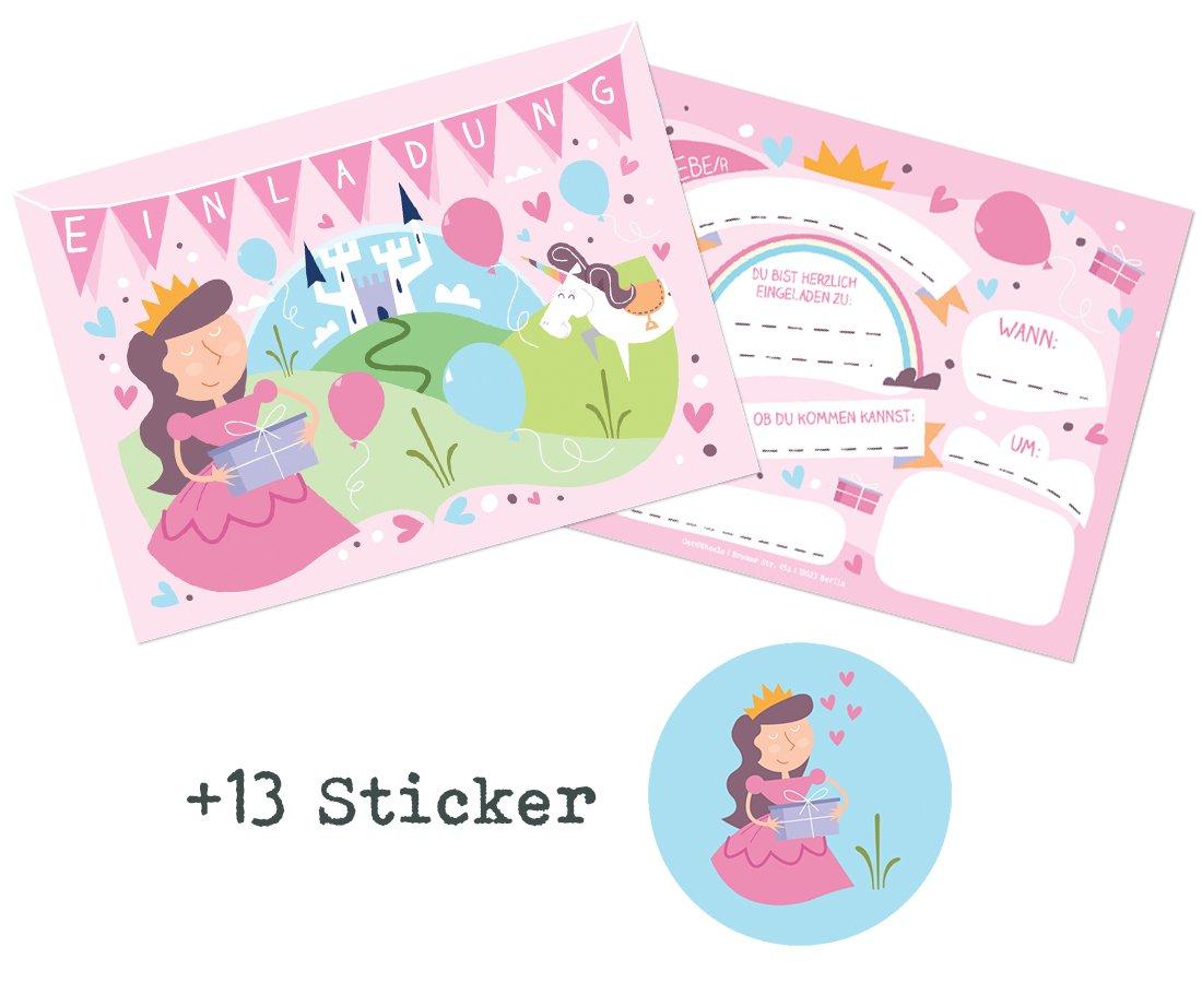 CardWheels 12 Tarjetas de invitación Princesa para ...