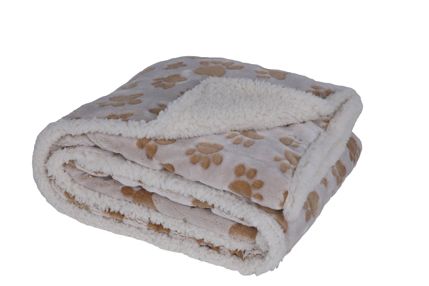 HappyCare Textiles 047393528926 Printed dog paw Flannel reverse to sherpa throw blanket, Taupe