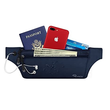 Ryaco Cinturón de Viaje para Dinero con Bloqueo RFID - Riñonera Antirrobo Cartera de Viaje y