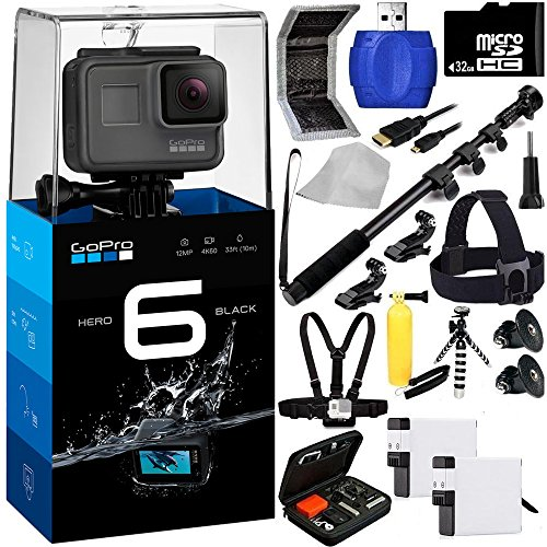GoPro HERO6 Black 20PC Accessory Kit - Includes 32GB microSD Card + High Speed Memory Card Reader + Heavy Duty Monopod Selfie Stick + Micro HDMI Cable + Flexible Gripster Tripod + MORE