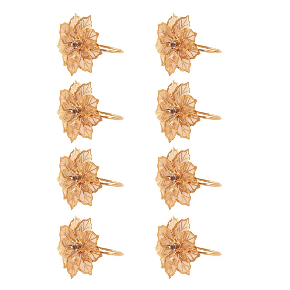 Fitlyiee 8 Pcs Flower Shape Napkin Rings Exquisite Metal Napkin Buckle for Wedding Party Dinner Gold