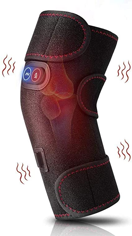 Heated and Vibration Massage Knee Brace Wrap 3 Adjustable Heated and Massage Knee Heating Pad Thermal Heat Therapy Wrap Hot Compress with 2 Vibration Motors for Knee Injury Cramps Arthritis Recovery