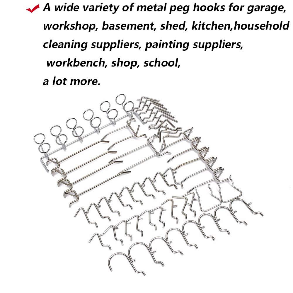 Schule Tools Suite Werkbank Shop Kalolary Stecktafel Haken 52 Stk Pegboard Haken Sortiment Peg Board Hook Anh/änge Set und Organisation Storage Shop Tools