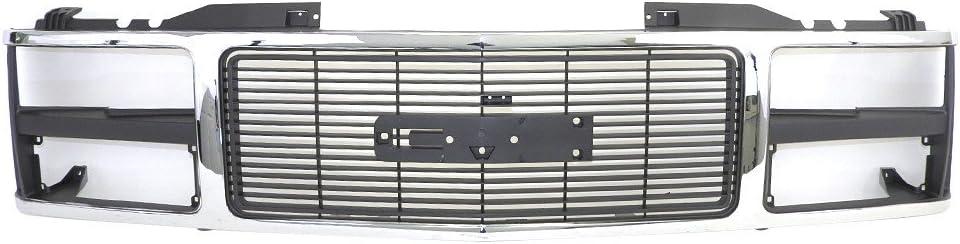 Titanium Plus Autoparts Fits For 1988-1993 GMC K3500 C1500 C2500 K1500 C3500 K2500 1992-1993 GMC K2500 Suburban Yukon C1500 Suburban C2500 Suburban K1500 Front Grille GM1200229 Chrome Silver/black
