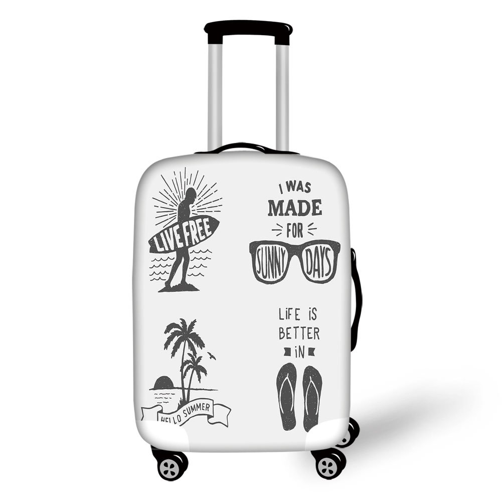 Travel Luggage Cover Suitcase Protector,Quote,Collection of Summer Themed Typography Artworks with Beach Sunglasses Palm Pattern,Black Grey,for Travel