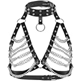 Women's Punk Waist Belt Body Chain Faux Leather Harness Adjustable with Buckles and O-Rings