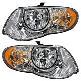 "Driver and Passenger Headlights Headlamps Replacement for Chrysler Van with 119"" Wheel Base 4857991AD 4857990AD"