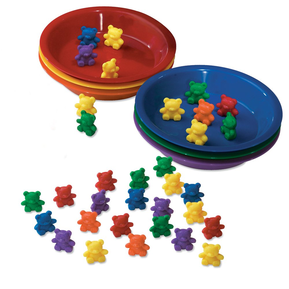 Learning Resources LER0739 BABY BEAR SORTING SET-102 BEARS 6 FARBEN 6 BOWLS