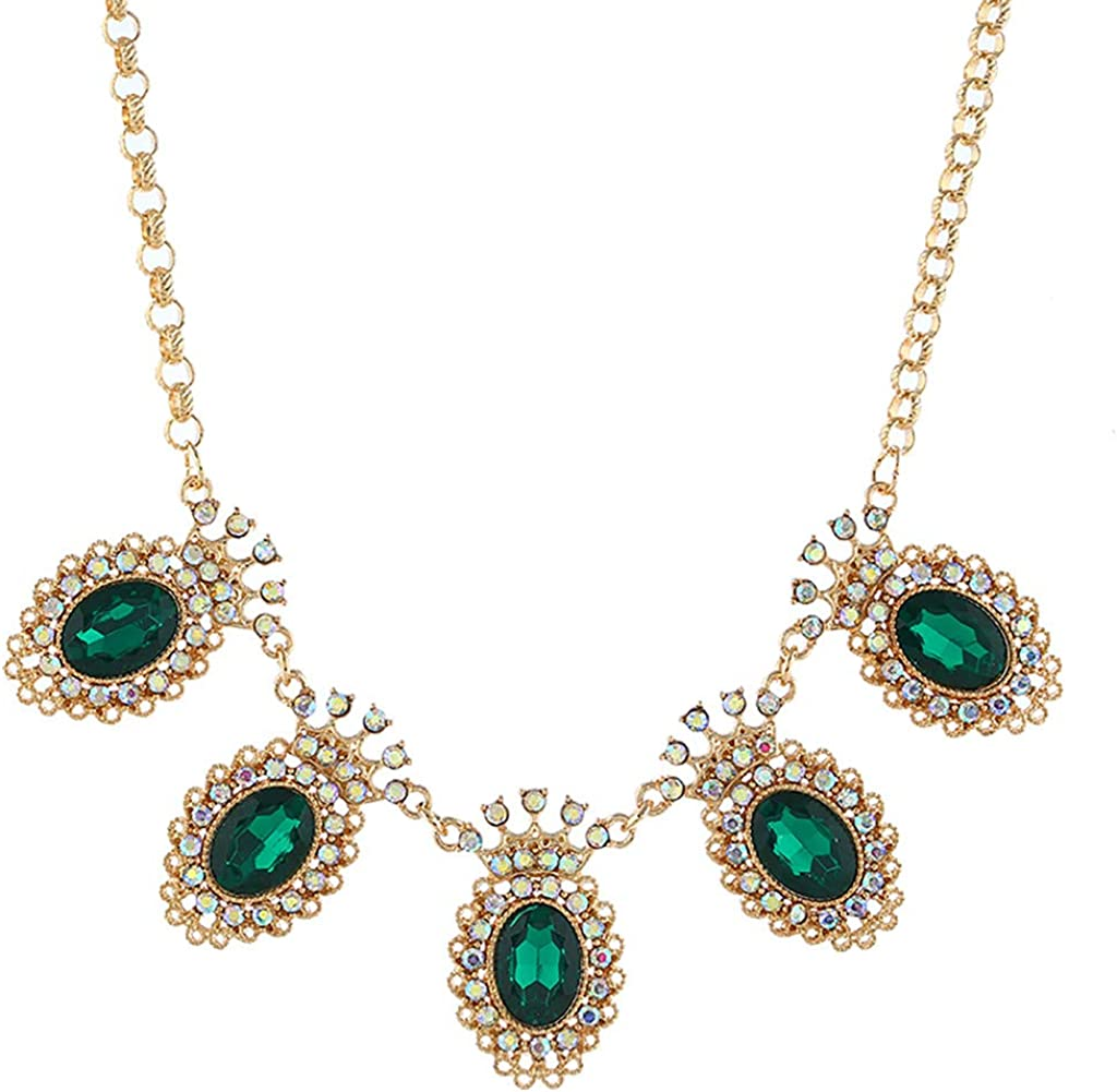 Toamen Fashion Women's Crystal Statement Bib Necklace Pendant 1561 Jewelry