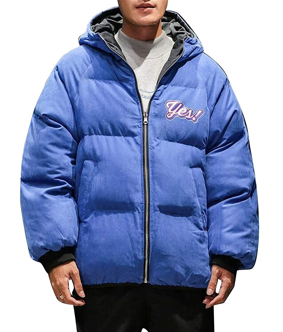 Jotebriyo Men Relaxed Fit Winter Reversible Full-Zip Thicker Hoodie Down Coat Jacket Outerwear