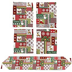 Juvale 5-Piece Christmas Table Set - Christmas Runner and 4 Dining Table Placemats - Christmas Kitchen Table Mats and Table Runner - Essential Xmas Holiday Dining Decor, Christmas Patchwork Theme