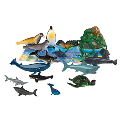 ColorBaby - Bote con animales marinos Animal World, 21 piezas (43436): Juguetes y juegos