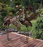 CHSGJY Large Bronze Patina Flying Crane Pair Sculpture Heron Bird Yard Art Metal Statue Home Garden Decor