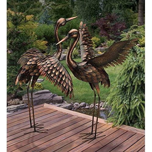 CHSGJY Large Bronze Patina Flying Crane Pair Sculpture Heron Bird Yard Art Metal Statue Home Garden Decor