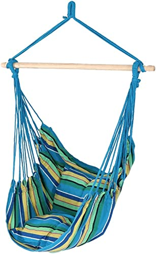 Sunnydaze Hanging Rope Hammock Chair Swing - Double Cushion Hanging Chair Seat for Backyard & Patio