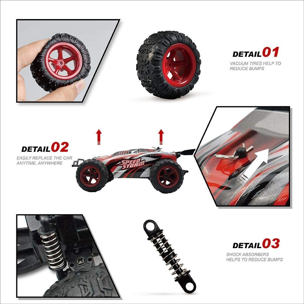 1 Rabing RC 2.4Ghz High Speed Radio Remote Control Racing Cars 1//22 off-Road Rock Vehicle Rosso Colore