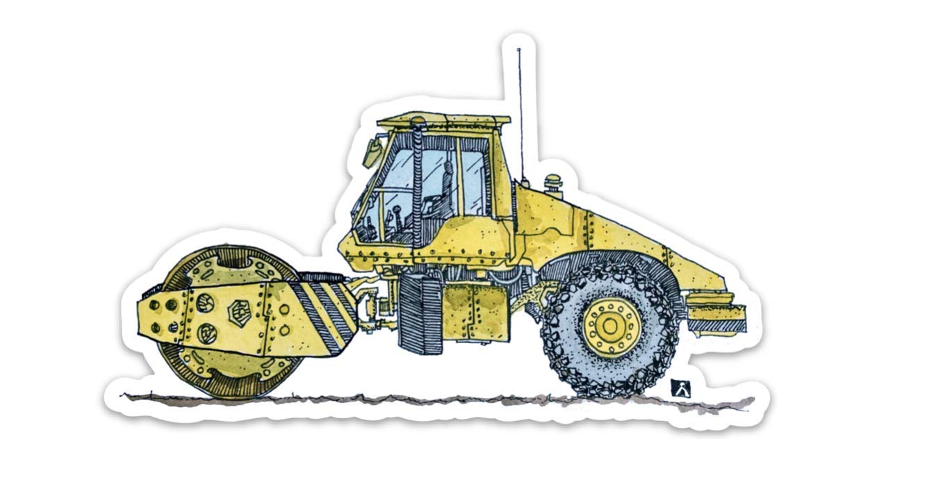 Construction Vehicle Sticker Of A Steam Roller Vinyl Sticker Hand Drawn Illustration BellavanceInk