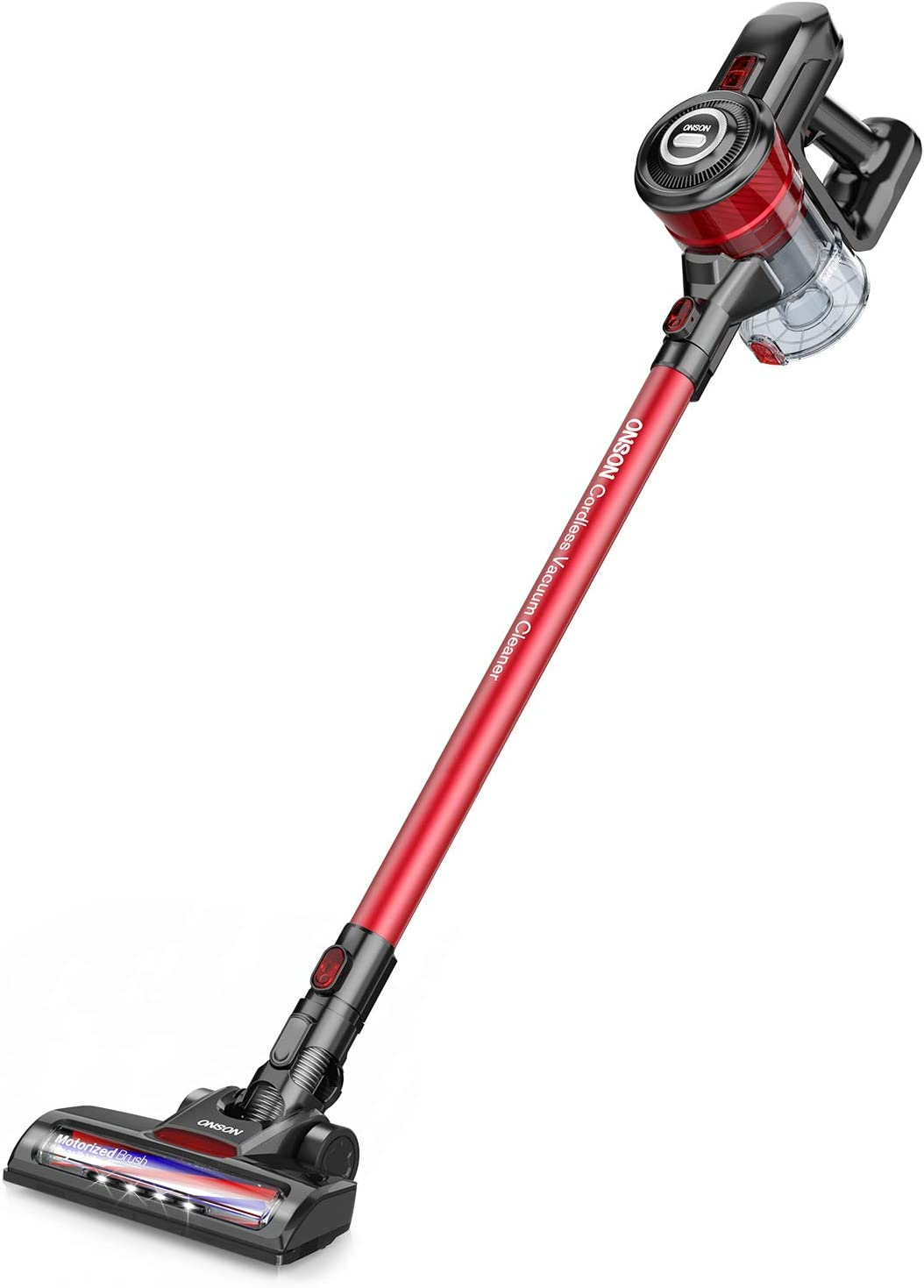 Cordless Vacuum, ONSON Stick Vacuum Cleaner, 12KPa Powerful Cleaning Lightweight Handheld Vacuum with Rechargeable Lithium Ion Battery