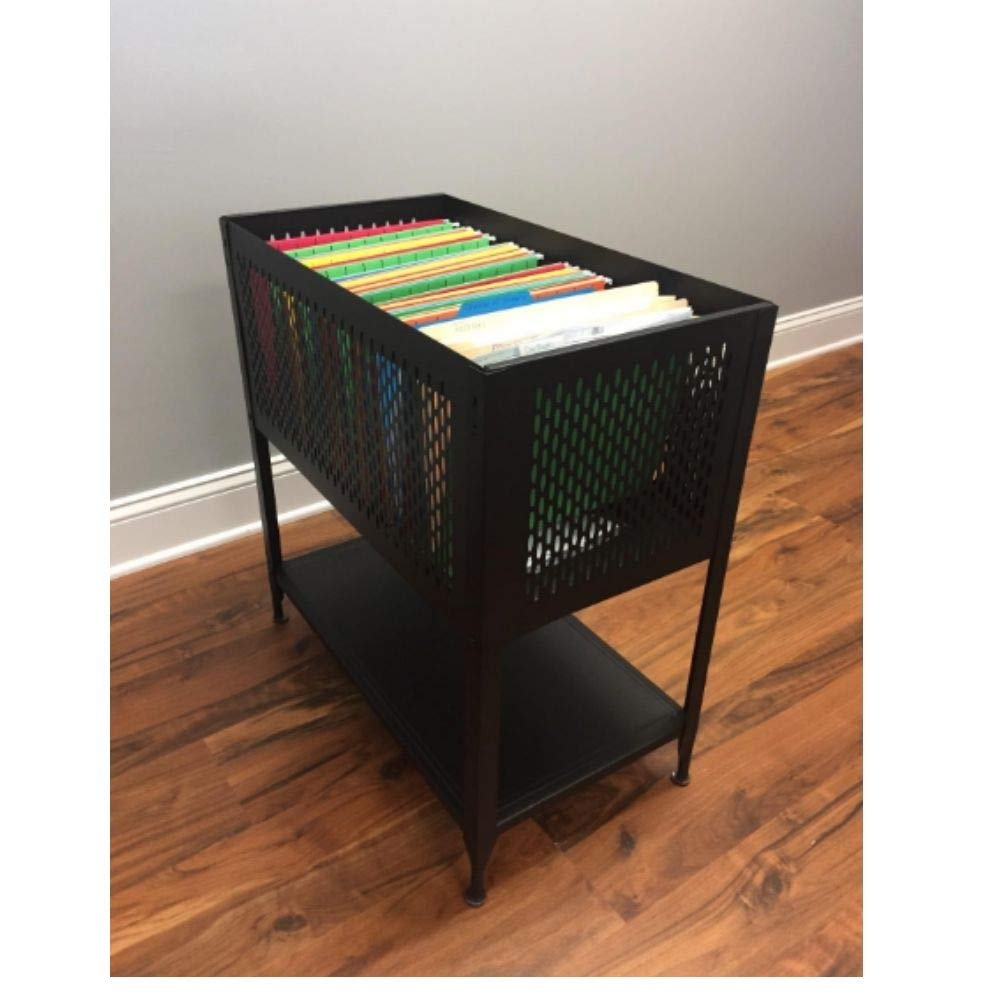 Rolling File Cabinet, Hanging File Folder Cart on Wheels, Heavy Duty Mobile Filing Storage Caddy with Casters, Mesh Office File Letter Cabinet Organizer Made of Steel with Open Top