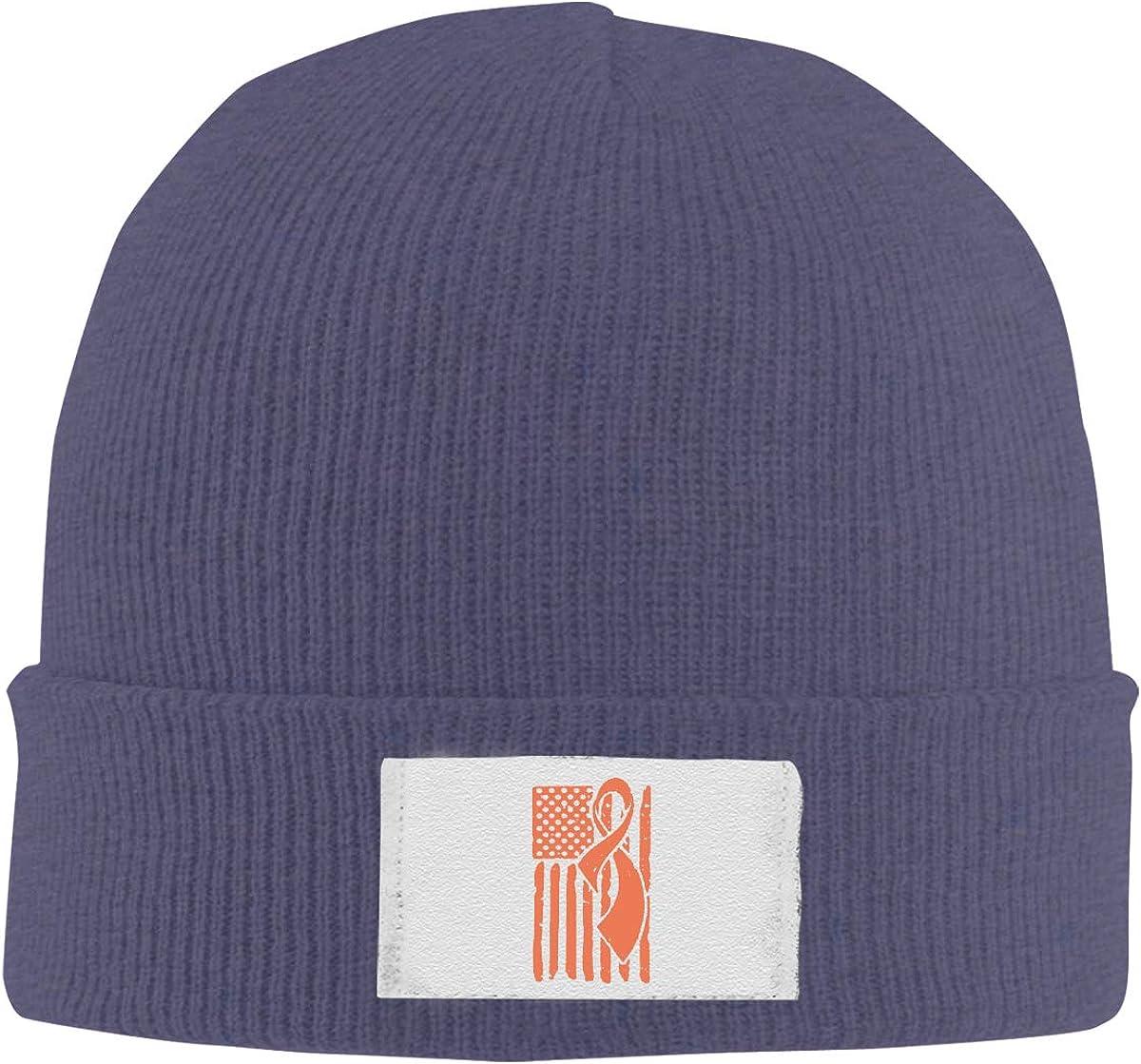 Dunpaiaa Skull Caps Leukemia Awareness Ribbon American Flag Winter Warm Knit Hats Stretchy Cuff Beanie Hat Black