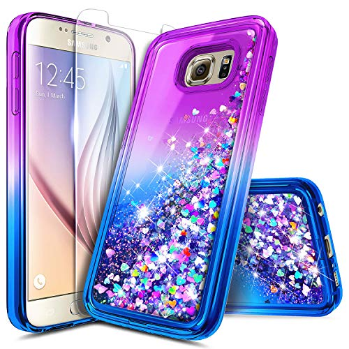 NageBee Case for Samsung Galaxy S6 Edge Plus w/[Full Coverage Screen Protector], Glitter Liquid Quicksand Waterfall Flowing Sparkle Bling Girls Cute Case -Purple/Blue