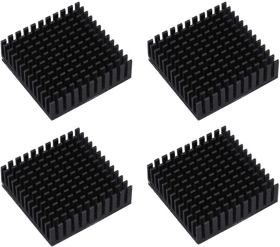 Pack of 4 Facibom 40x40x10mm Black Radiator Aluminum Heatsink Extruded Profile Heat Dissipation Electronic,3D Printer Part