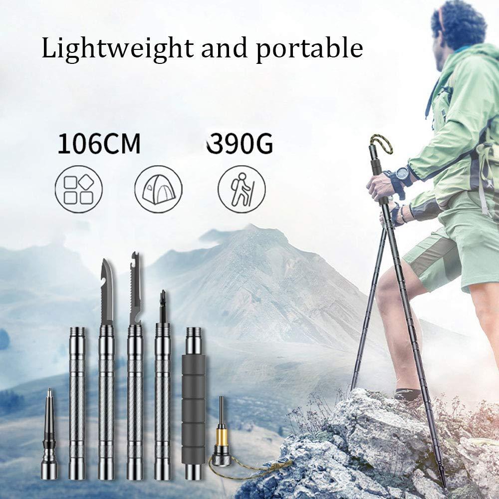 MEET Alpenstock Bast/ón De Trekking Multifuncional,Bast/ón De Palo Herramienta De Supervivencia Adecuado para Camping Senderismo Al Aire Libre