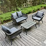Pamapic 4 Piece Outdoor Patio Wicker Furniture Sets with Cushions 【Unique Design with Round Rattan】 PE Rattan Outdoor Sectional Sofa & Table with Adjustable Legs 【Grey】 For Sale