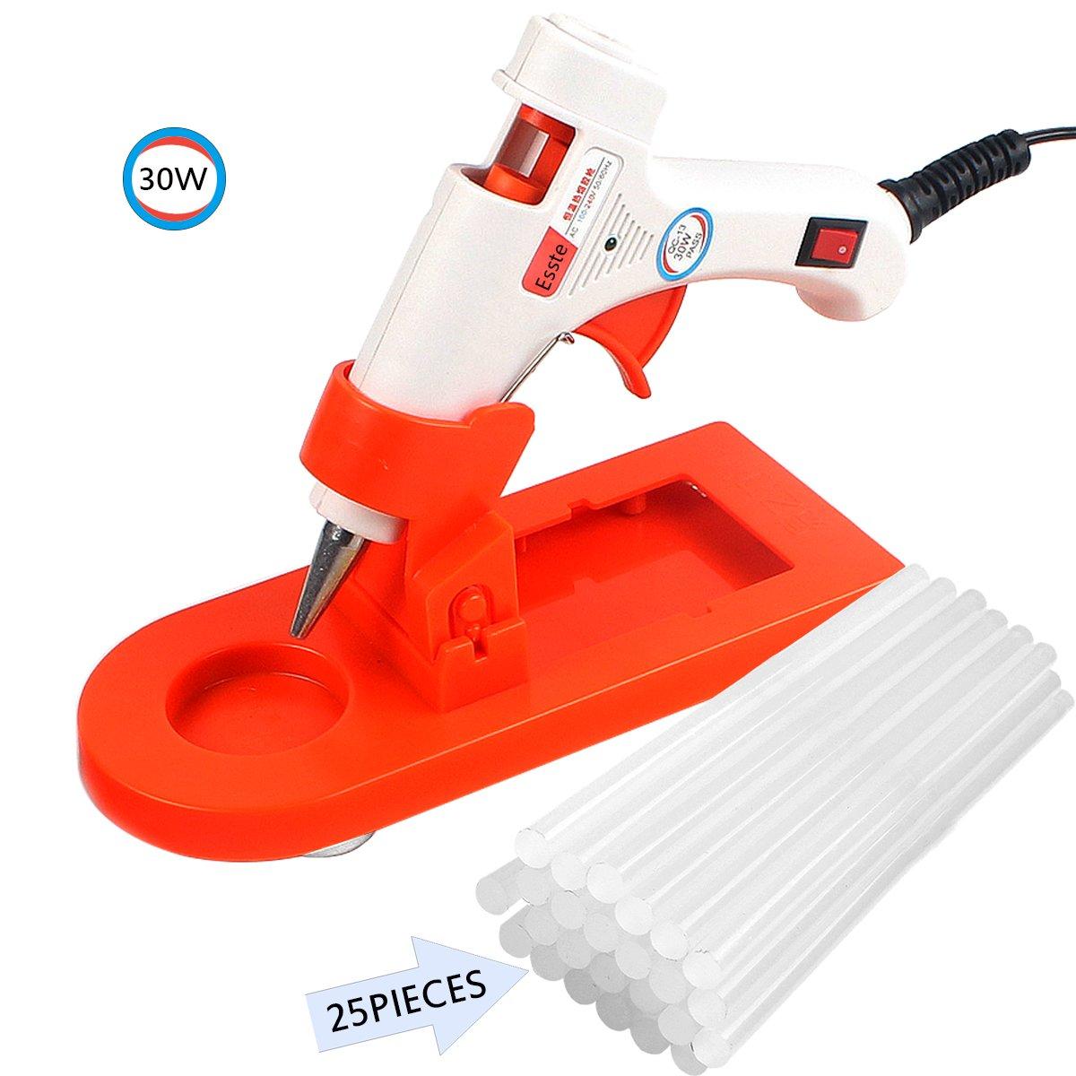 Esste 30W Mini Hot Glue Gun Kit-High Temperature Repair Tool With Gun Stand Socket and 25 Pieces Melt Glue Sticks for DIY Craft Projects Strong Bond (hot gun)