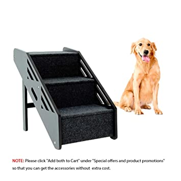 MEWANG Wooden Pet Stairs Portable 3 Levels Dog Steps Removable Pet Ladder Up to 110 Pounds
