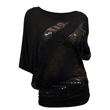 470e28e7a9bceb ❤️Sunday Große Größe Frauen Pailletten T-Shirt Kalte Schulter Kurzarm  Casual Tops Bluse Sommer