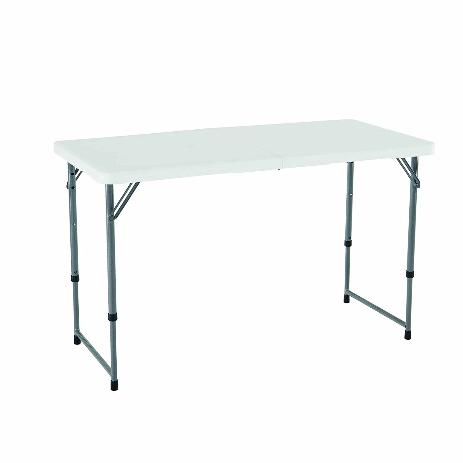 Lifetime 4428 Height Adjustble Utility Adjustable Folding Table, 4 ft White