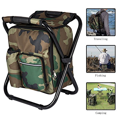 Bright starl Multifunction Folding Cooler and Stool Backpack Picnic Bag, Hiking Camouflage Seat Table Bag Camping Gear for Outdoor Indoor Fishing Travel Beach BBQ by Bright starl