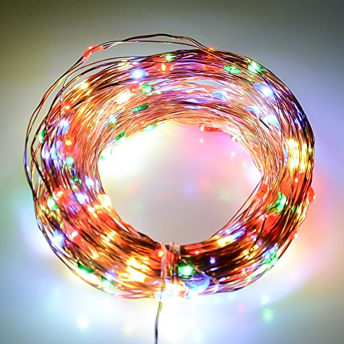 J&D Multi-Colored LED String Lights, Copper Wire Lights, Durable and Waterproof, for Indoor/Outdoor Decoration, Holiday, Christmas, Party, etc - 33 feet (10 meters)… - 12 Volt Christmas Lights