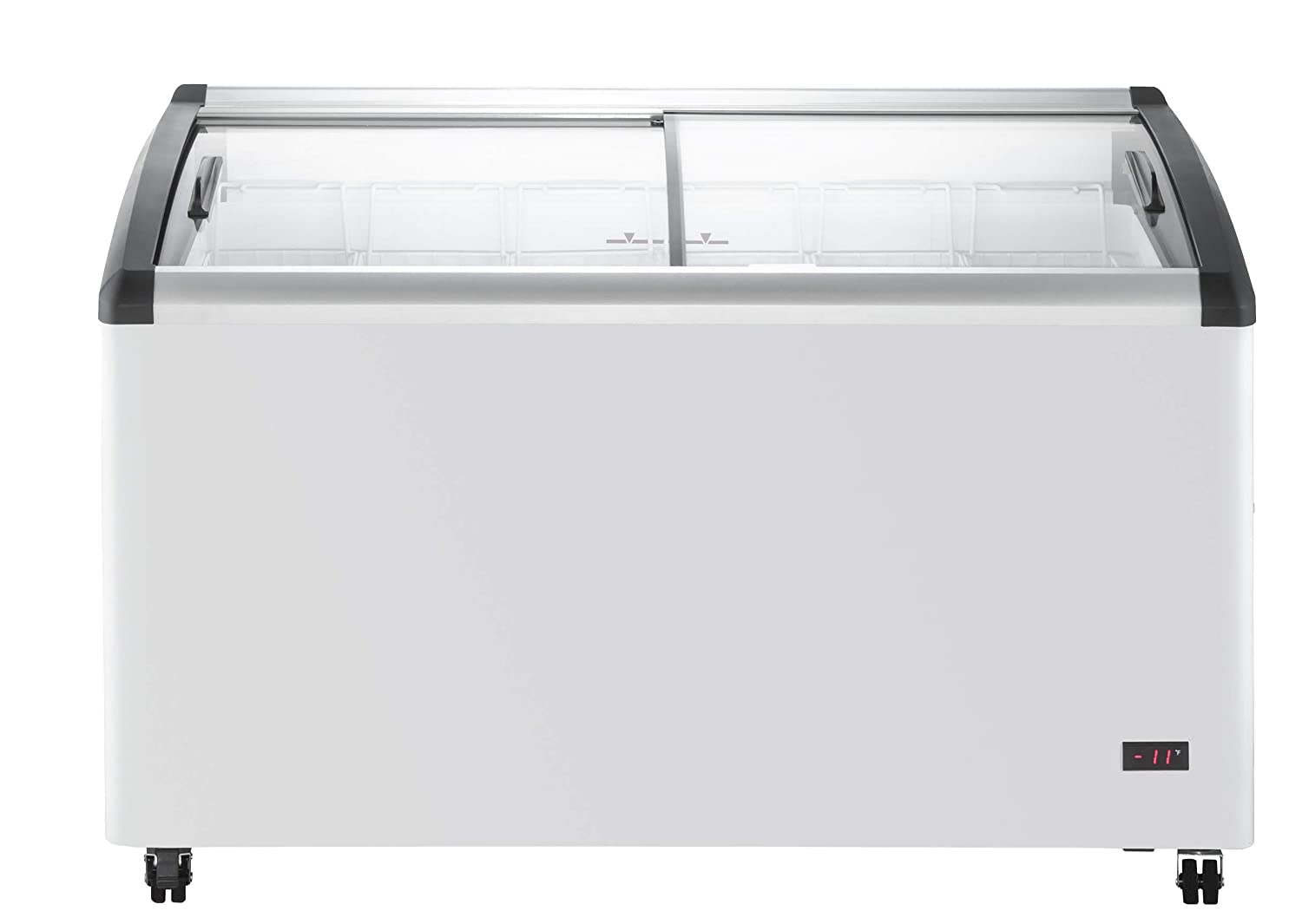 Chef's Exclusive Commercial Mobile Ice Cream Display Chest Freezer Curved Sliding Glass Lids Frost Free Sub Zero with 6 Wire Baskets, 53.2 Inch Wide, White 61booJD5r2BL._SL1500_