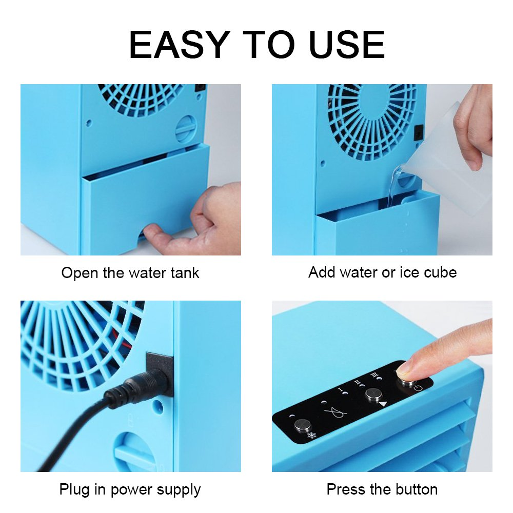 YOUDirect Personal Mini Air Conditioner Fan 9.5-inch - Small Desktop Fan Mini Evaporative Air Cooler Cooling Fan (Blue) by YOUDirect (Image #5)