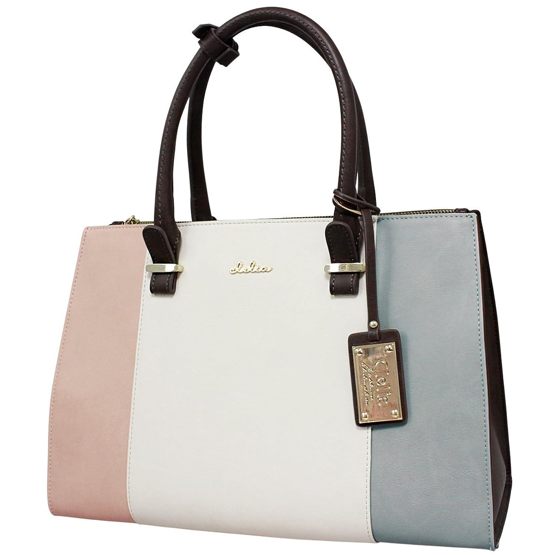 [クレリア] Clelia トートバッグ 鞄 レディース 2way B5サイズ対応 トリコロール かわいい シンプル フェイクレザー 大容量 ショルダーバッグ 【CL-22772-4】 B01MZ1S3AK  ミルキーペール