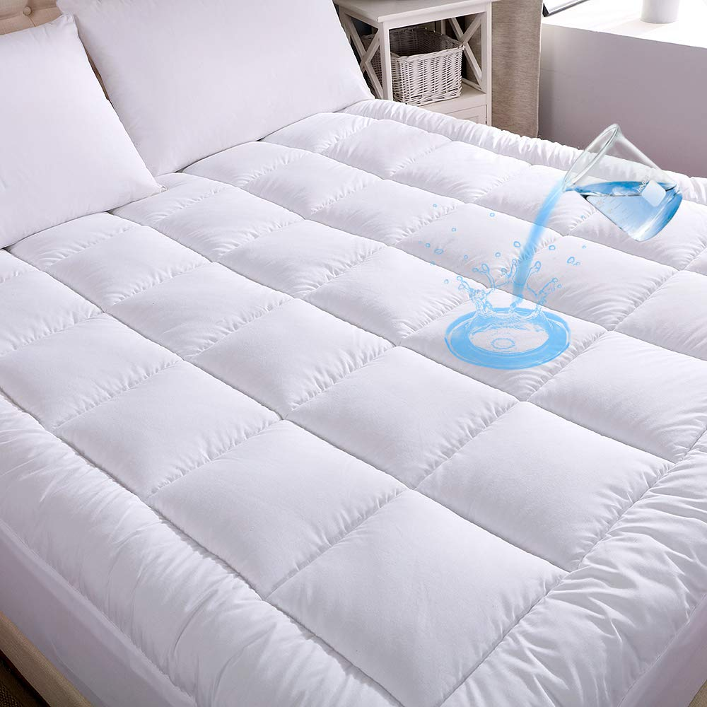 WhatsBedding Waterproof Mattress Pad Queen Size Cotton Top Hypoallergenic Down Alternative Filling Pillowtop Mattress Topper Cover-Fitted Quilted (Mattress Pad Queen)