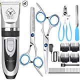 YiDon Dog Clippers, Rechargeable Cordless Professional Hair Clippers Kit Dogs Cats Other Animals Stainless Steel Comb Scissors, Low Noise Low Vibration (Silver&Black)