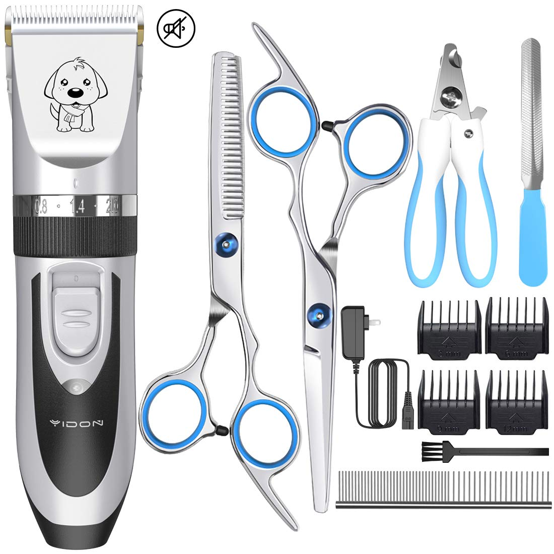 YIDON Dog Clippers, Dog Grooming kit Cordless Adjustable Pet Clippers Dog Hair Trimmer Rechargeable Dog Shears Pet Grooming Professional Hair Clippers Low Noise for Small Large Dogs,Cats,All Pets