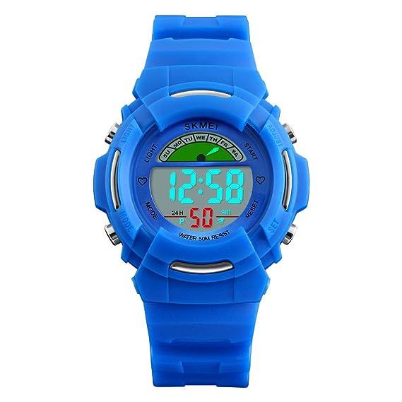 Relojes Deportivos para Niños Niña Juvenil Digitales LED Redondos 5 ATM  Water Resistant Alarma Deportivo Futbol  Amazon.es  Relojes e40b2d4bb33a