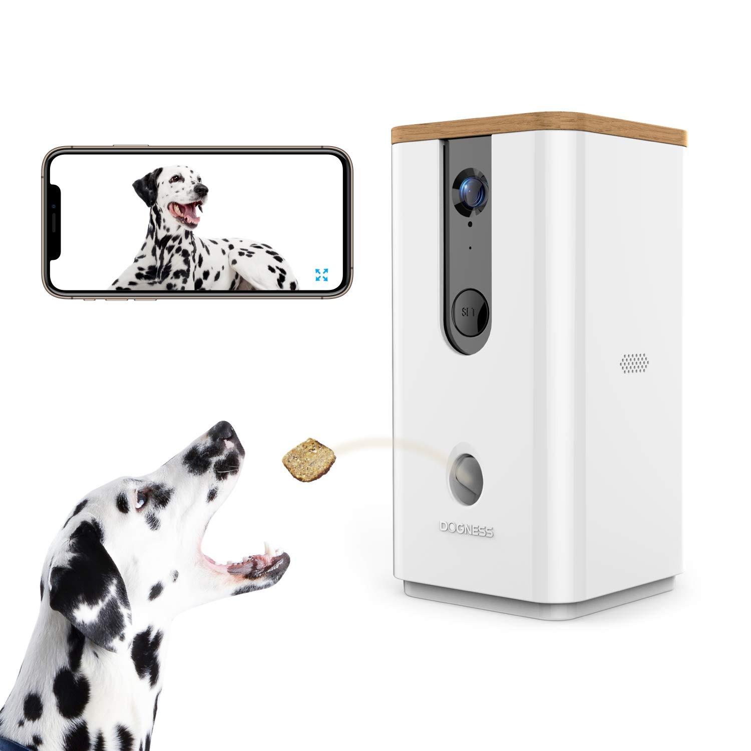 Vbroad Smart Pet Camera Treat Dispenser, WiFi Remote Camera Monitor 720P HD Night Vision Video with 2-Way Audio Designed for Dogs and Cats, Home Safety Pet Monitor (Android/iOS)